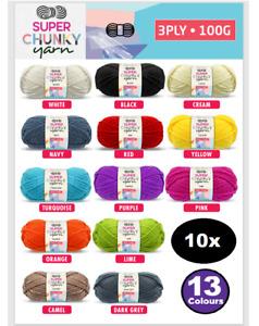 10x 100g 13colour Super Chunky Knit Yarn Ball Knitting Yarn Acrylic winter
