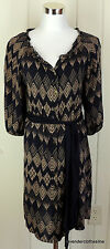 Edme & Esyllte Anthropologie 2 Black & Tan Rayon Button Down Shift Dress