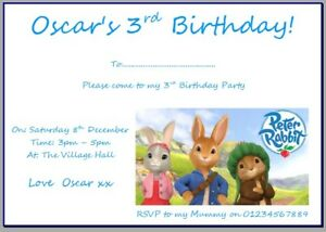 personalised photo paper card party birthday invites invitations PETER RABBIT