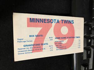 1979 Minnesota Twins Baseball Pocket Schedule Twins Tickets Version