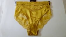 M&S Autograph Ladies Lime Green (Honey) Silk & Lace High Leg Knickers, size 18