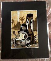 Tiki Bongo Hula Girl volcano Art Print Tiki  Schroederville Retro 1960s Hawaii