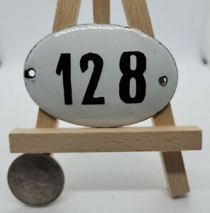 Old Oval Enamel Number 128 Door Gate Wall House Enamel Sign Number 6x4cm