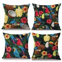 RIO Cushion Covers Set of 4 Tropical Decor Toucans Coconuts Pineapples 🍍🥥🌺