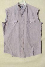 "S6205 Chute #1 Men's Large Est Blue Striped Sleeveless ""Redneck"" Grunge Shirt"
