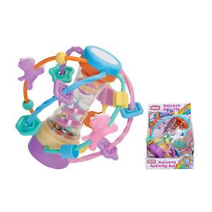 Fun Time Unicorn Activity Ball Rainmaker Toy Sensory Auditory Baby Toddler Shake
