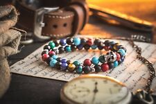 Various gemstone beaded stretchy bracelet with stainless steel skull