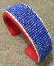 BLUE CUFF BRACELET DENIM BEADS RED LEATHER HANDMADE BEADLOOMED ADJUSTABLE CUFF