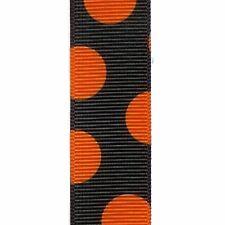"5 yards 7/8"" HALLOWEEN BLACK ORANGE Big Dot Grosgrain Ribbon"