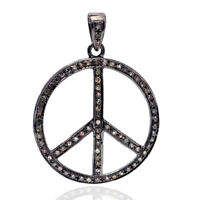 Peace Sign Pendant Pave Diamond 925 Sterling Silver Vintage Jewelry