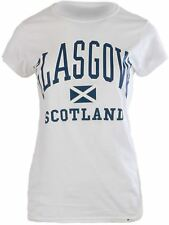 Gents Harvard Style T-Shirt With Glasgow Text Saltire Logo White Size X-Large
