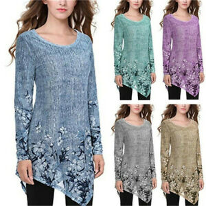 Women Fall Casual Long Sleeve T Shirt Round Neck Basic Tunic Loose Floral Blouse