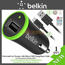 Belkin 1 Amp Universal Micro USB Car Charger d Sync Cable for Smartphone
