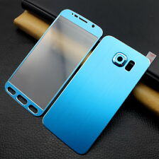 Front+Back Blue Titanium Tempered Glass Screen Protector For Samsung Galaxy S6