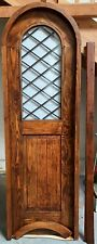 """Rustic reclaimed lumber arched top pantry door laminate glass 25-1/2 X 80 1-1/2"""""""