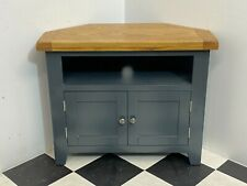 Modern Hampshire painted oak top corner tv stand entertainment cabinet -Delivery
