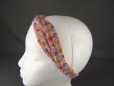 Pink floral flowers wired long tie wrap turban twist fabric headband head scarf