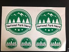 NATIONAL PARK NERD Decal Set - White Vinyl with Black/Green - Circle Sticker