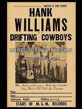 """Hank Williams and the drifting cowboys 16"""" x 12"""" Photo Repro Concert Poster"""