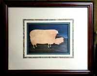 """Vintage Warren Kimble """"Country Sheep"""" Professionally Framed and Matted"""