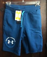 Under Armour BOY's Shorts YOUTH Size MEDIUM Fitted Cotton-Polyester Aegan Blue