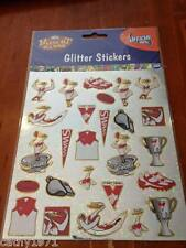 NEW Sheet of GLITTER Sydney Swans AFL Stickers - For Scrapbooking and Craft