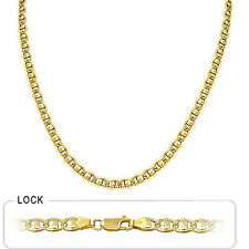 "5.00mm 26"" 21.80gm 14k Gold Two Tone Mariner Concave White Pave Chain Necklace"