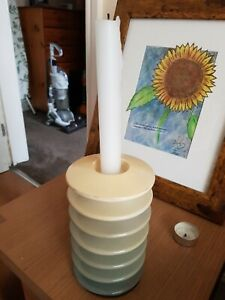 Ceramic cream and grey Candle Or Tea Light Holder. Used but v good condition