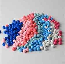 100 Perlen 8mm   Holz  Gemischte Farben  Speichelfest   Schnullerketten Bastel