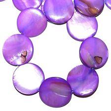 "MP1598L Purple Fuchsia Mother of Pearl 30mm Flat Round Gemstone Shell Beads 16"""