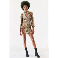 urban outfitters silence + Noise triton cutout cheetah body con dress SZ L NWT