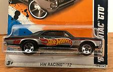 2012 Hot Wheels HW RACING #173 * '67 PONTIAC GTO * BLACK HW RACE TEAM DECOs