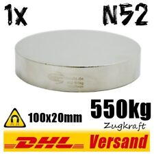 Neodymium Magnet 100x20mm 550kg N52 - Large Power High-Performance Magnet Disc