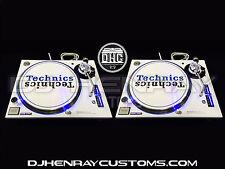 2 white powder coated Technics SL1200 mk5 with blue leds halos dj turntables