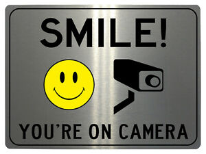 230 SMILE YOU'RE ON CAMERA Metal Aluminium Plaque Sign House Office Gate Wall