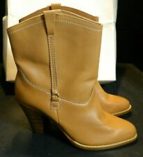 """Sears Tan Leather Cowgirl Ankle Boots Size 9 New In Box 9.5"""" Tall, 3.75"""" Heel"""