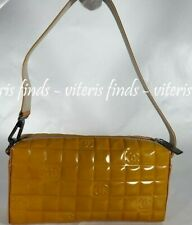 Auth Chanel Chocolate Bar Yellow Patent Leather Quilted CC Logos Clutch Tote Bag