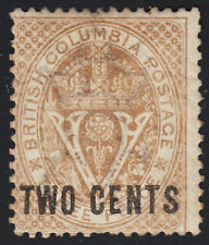 British Columbia Surcharge, Scott 8, VG MH OG, catalogue - $120