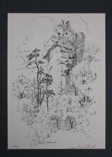 Lucien Henri Schmitt - Petit-Arnsbourg (Elsass)  Federlithographie