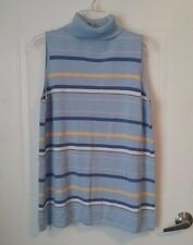 In Due Time Maternity top size XL, sleeveless, turtleneck, blue striped *793