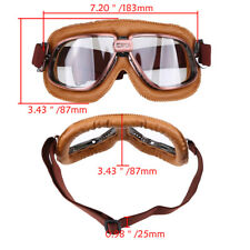 Vintage Goggles Aviator Pilot Retro Motorcycle Flying Eyewear Clear PU Leather