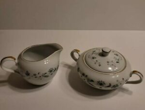Style House JULIET Creamer and Sugar Bowl Green and Grey Floral Design Gold Rims