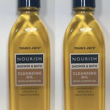 2 Pack Trader Joe's Nourish Shower & Bath Cleansing Oil With Almond Oil