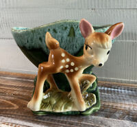 Vintage Mid Century Pottery Fawn Deer Green Glazed Planter USA