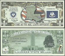 Lot of 25 Bills-Louisiana State Million Dollar Bill w Map, Seal, Flag, Capitol
