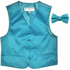 New Boy's Kid's formal Tuxedo Vest Waistcoat & bowtie aqua blue US size 2-14
