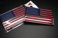 (2) AMERICAN FLAG ABS CHROME 3D EMBLEM DECAL STICKER LOGO FOR CAR AND TRUCKS