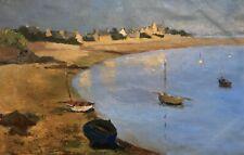 Huile sur papier, Plage, Bretagne, Bord de mer, Bateau, Tableau, Peinture, XXe
