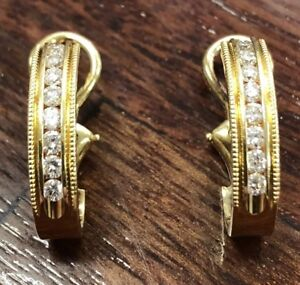 ESTATE -18ct Diamond Hoop Earrings - With Written Valuation For $1,960.00