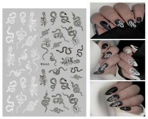 Nail Art Stickers Decals Halloween Black White Snakes Goth Gothic Serpents WG465